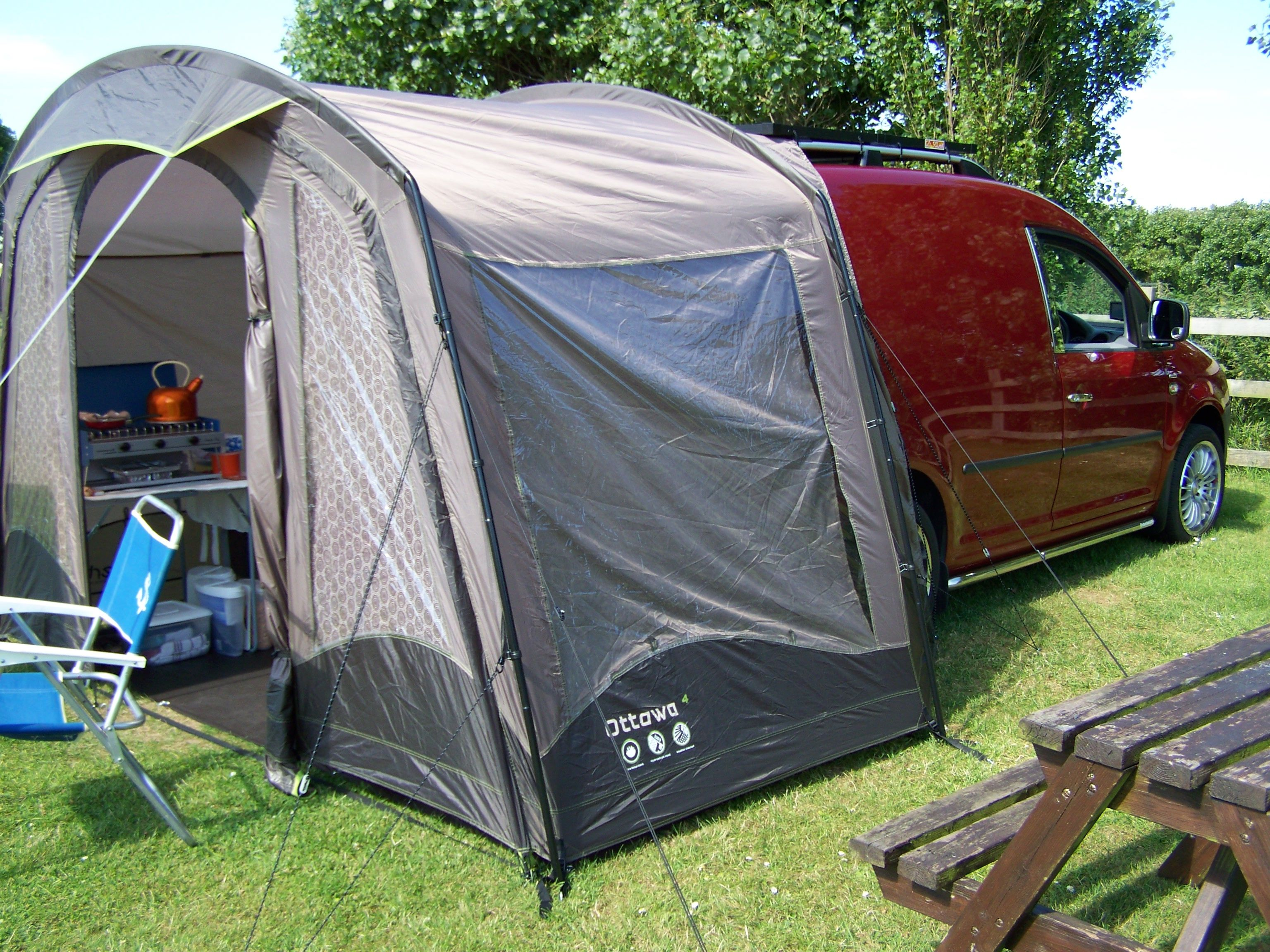 VW CADDY SOLAR CAMPER Inside The Awning Cooking Area Can Be Seen There