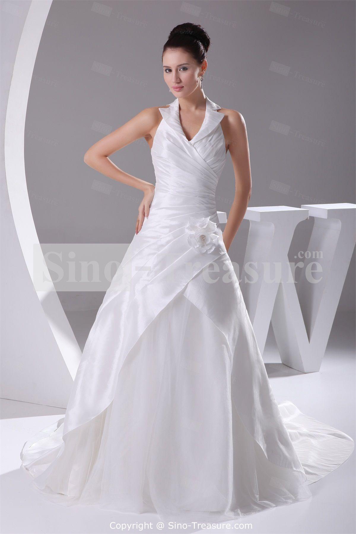 White Corset Back Misses Taffeta A Line Sleeveless Halter Wedding Dress Whole Price Us 249 99