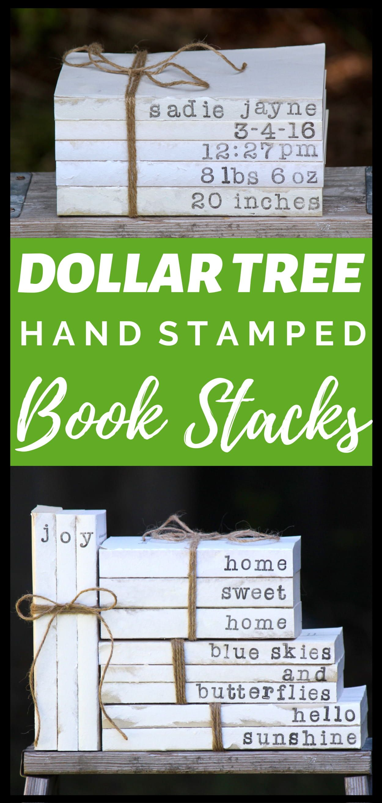 DIY Dollar Tree Hand Stamped Book Stacks