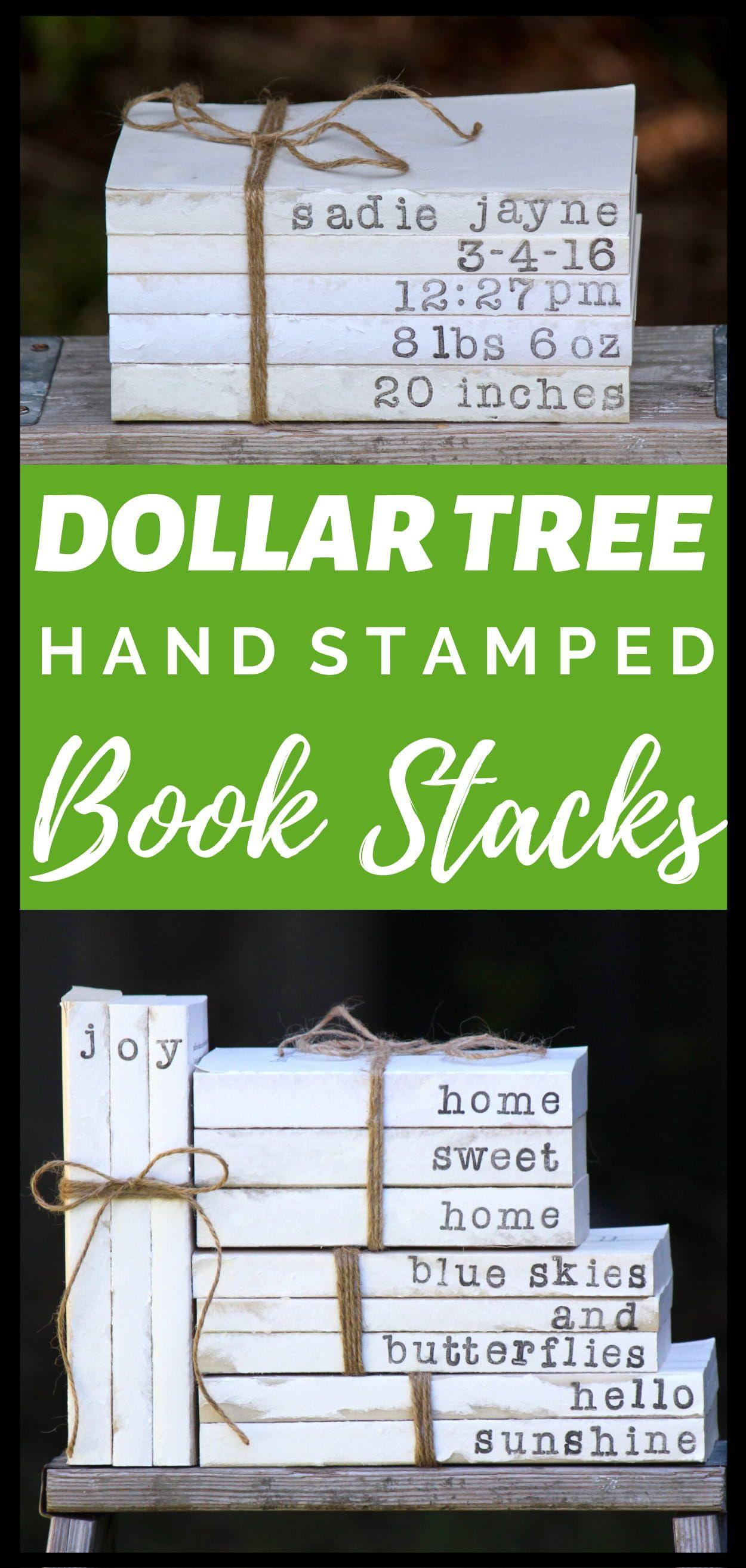 DIY Dollar Tree Hand Stamped Book Stacks