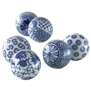 Hand Painted Ceramic Decorative Balls In Blue And White Ok I