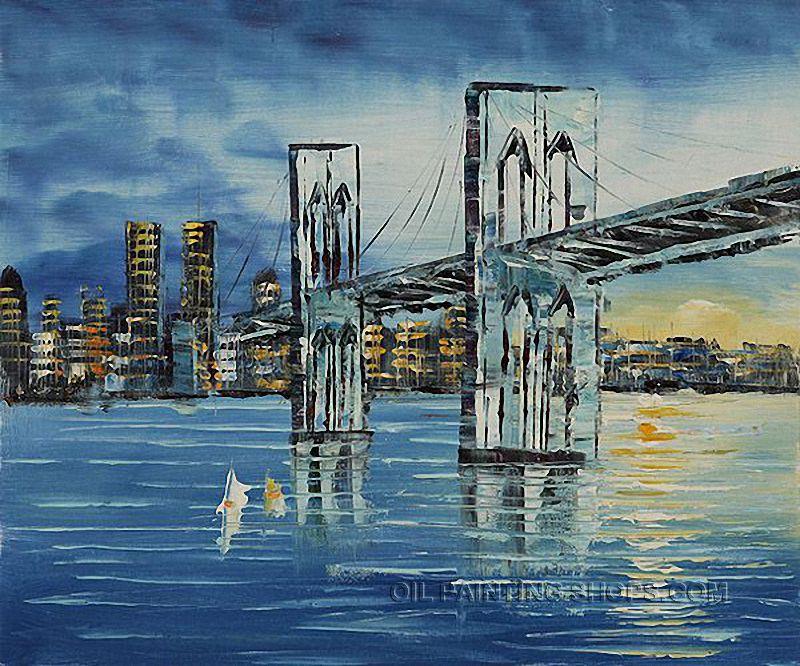 "Paintings Reproduction Art Landscape Painting Brooklyn Bridge Afternoon Bridge, Size: 24"" x 20"", $83. Url: http://www.oilpaintingshops.com/paintings-reproduction-art-landscape-painting-brooklyn-bridge-afternoon-bridge-1795.html"