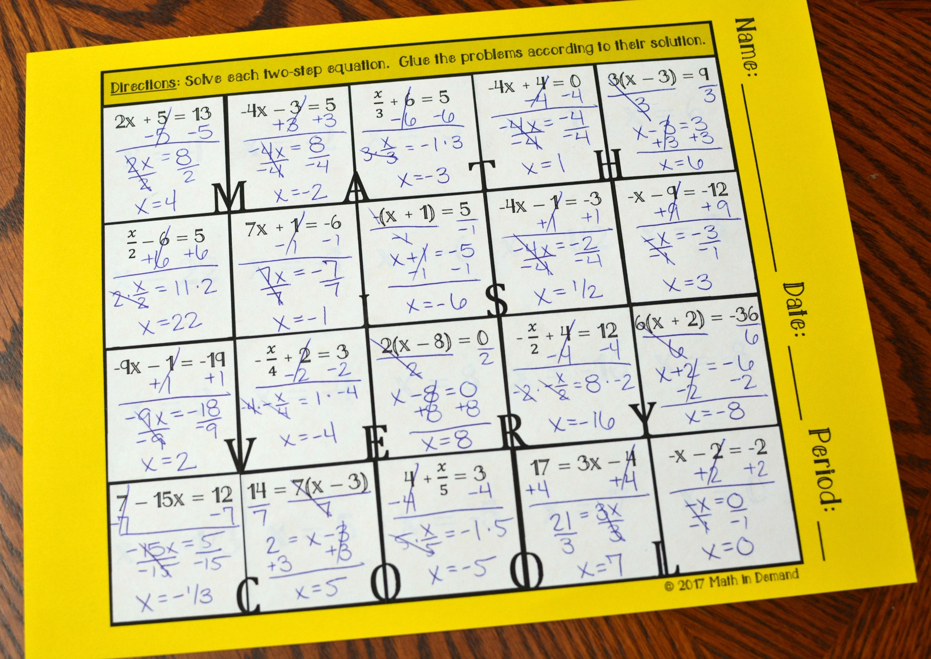Two Step Equations Hidden Message Activity