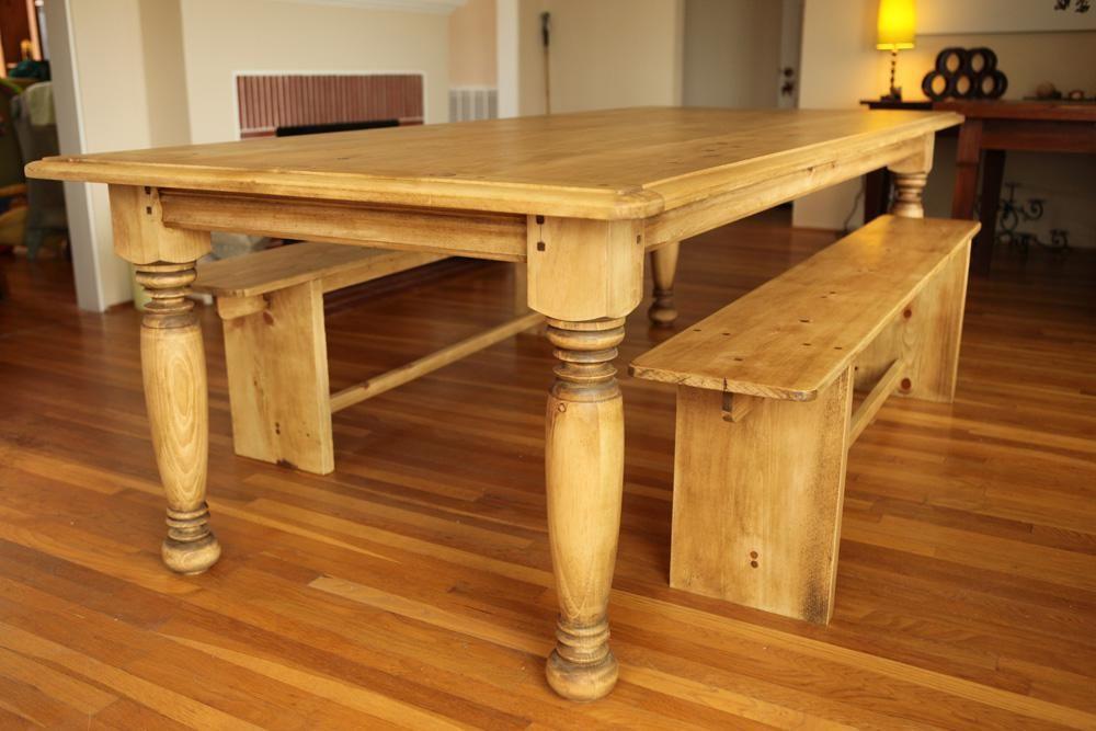 Farm table w hand turned legs farmhouse dining table