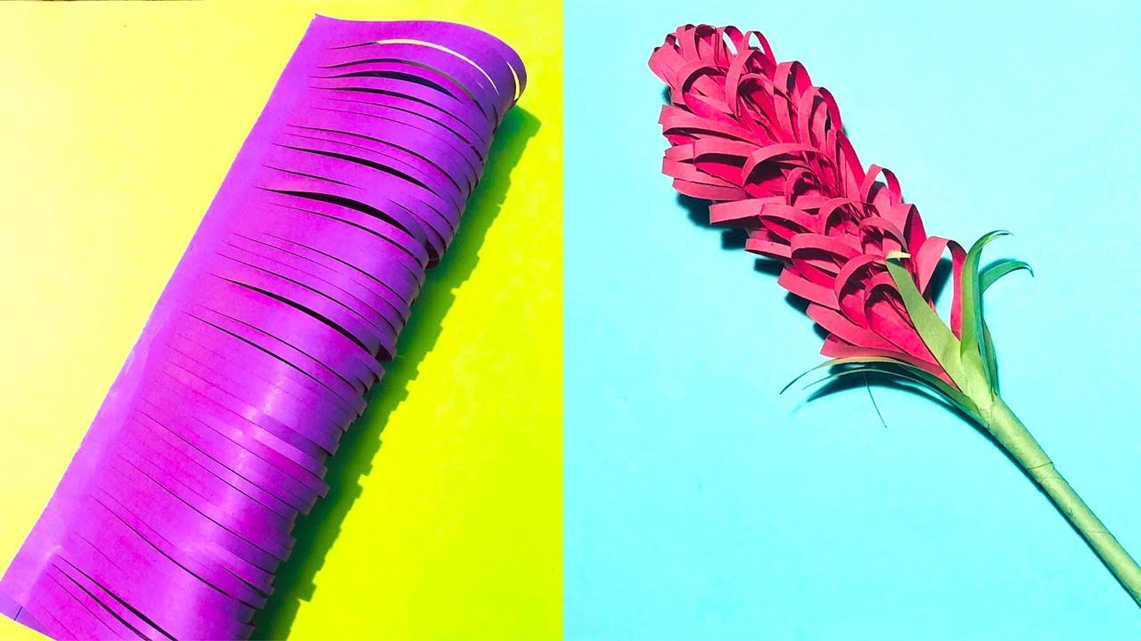 Easy Paper Flower Stick Art And Craft In Hindi With Paper