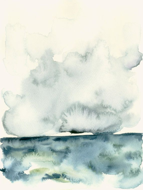 Watercolor Art Print Storm Clouds Over The Sea Watercolor Art