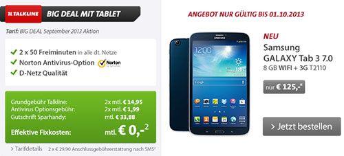 Samsung Galaxy Tab 3 für 125€ mit Schubladenvertrag