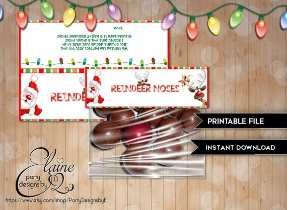 Reindeer Noses Candy Bag Toppers, Reindeer treat bag, Printable