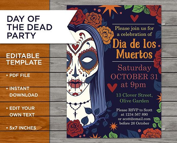 Halloween Party Invite Day Of The Dead Invite Halloween Halloween Etsyhalloween Partyinvite Diyi Halloween Party Invitations Etsy Halloween Halloween Party
