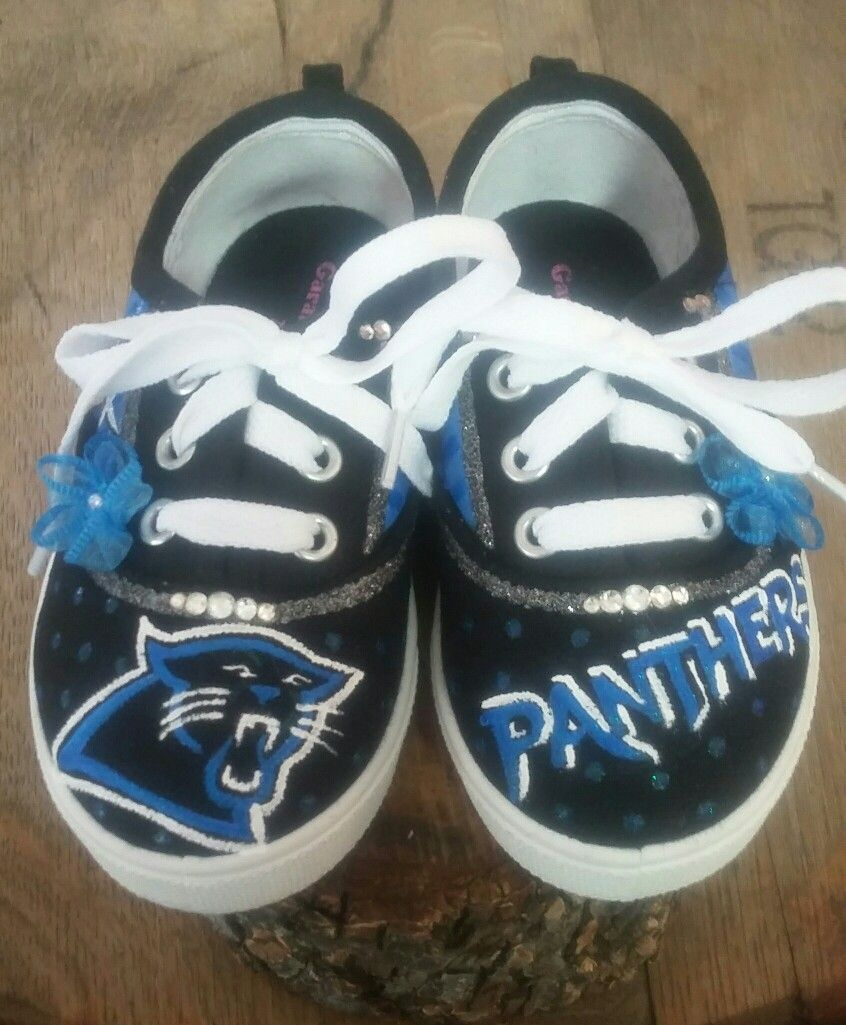Hand painted toddler Panthers sneakers by Karen on etsy.com touchofjoydesigns