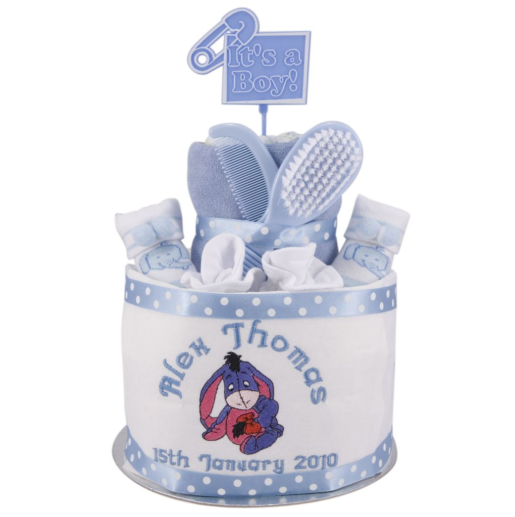 Tbc652 baby gifts pinterest personalized cakes the disney babies eeyore 2 tier boys nappy cake new baby gift set christening baby shower socks scratch mitts brush set eeyore blue negle Choice Image