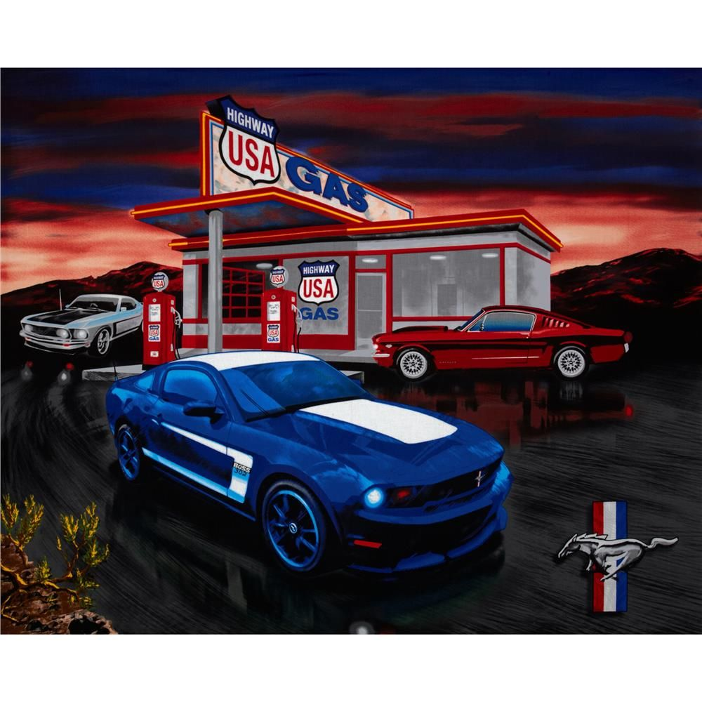 Licensed by the ford motor co to sykel enterprises this cotton print panel features a poster size picture of the ford mustang and is perfect for quilting