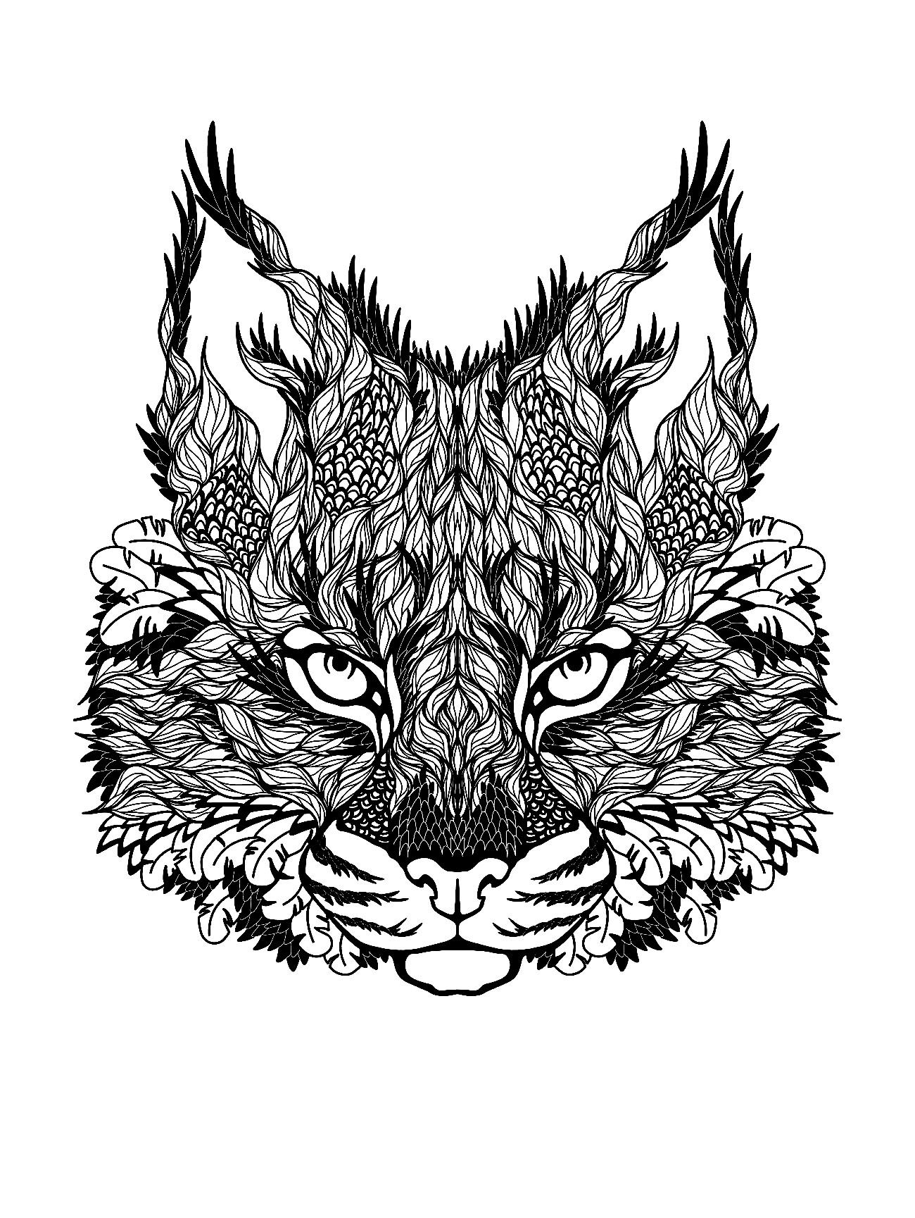 Free Coloring Page Coloring Difficult Cat A Cat Head To Color For