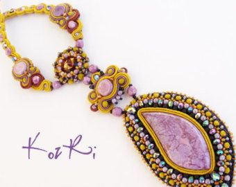 Alda necklace - Bead embroidery necklace with soutache strap decoration