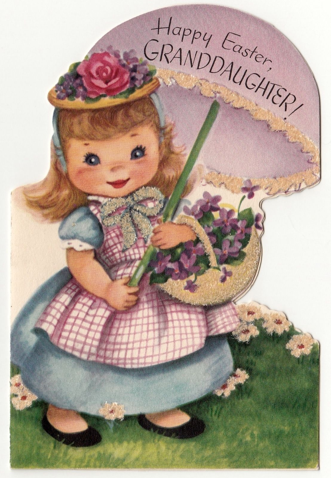 Vintage Greeting Card Easter Hat Cute Girl Parasol 1950s Rust Craft
