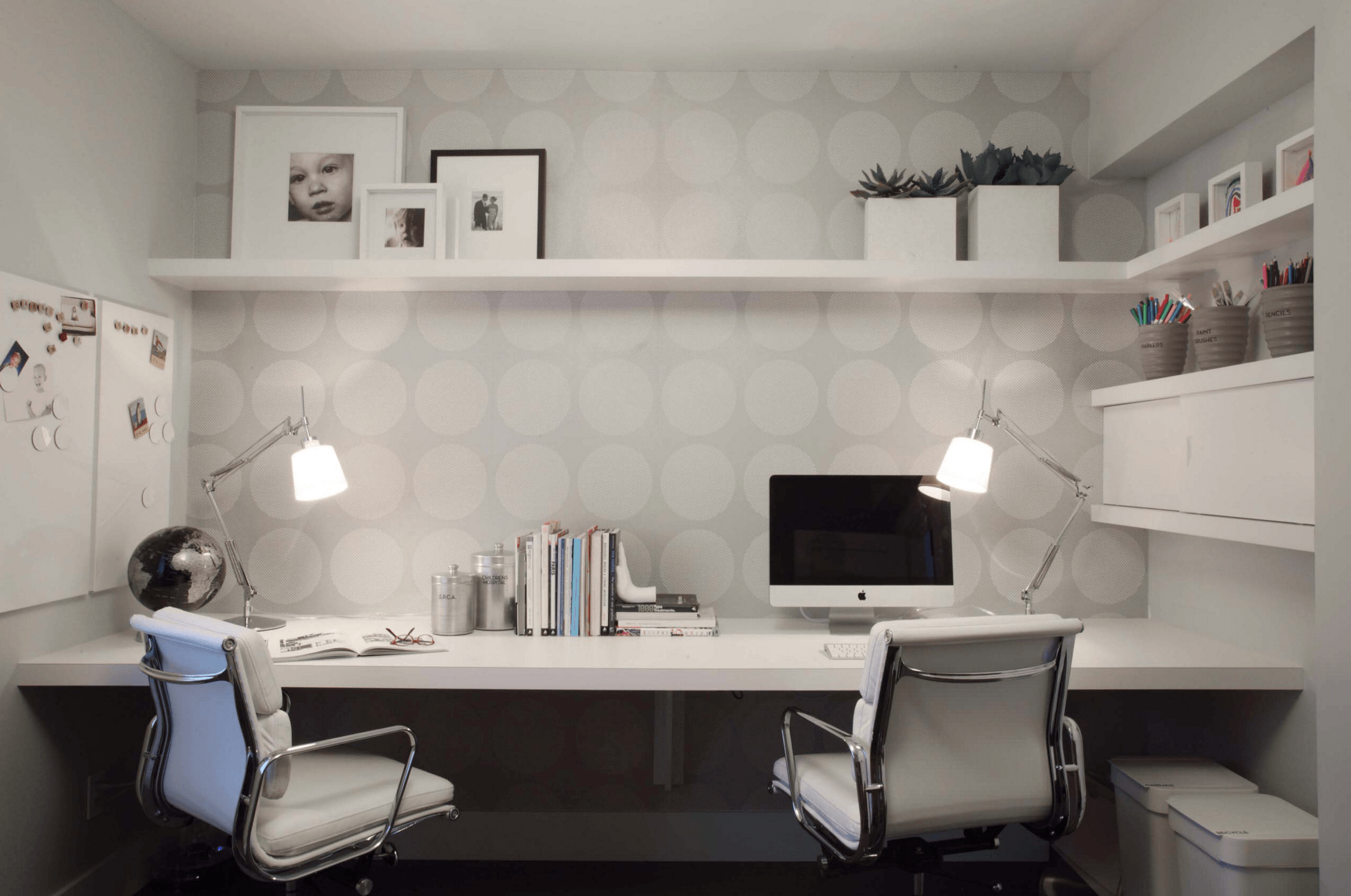 work desk ideas white office. Decorating Ideas White And Dark Photo Frame Wooden One Shelf Light Grey Pattern Wall Leather Office Chairs Imac Metallic Desk Lamp Sleek Work W