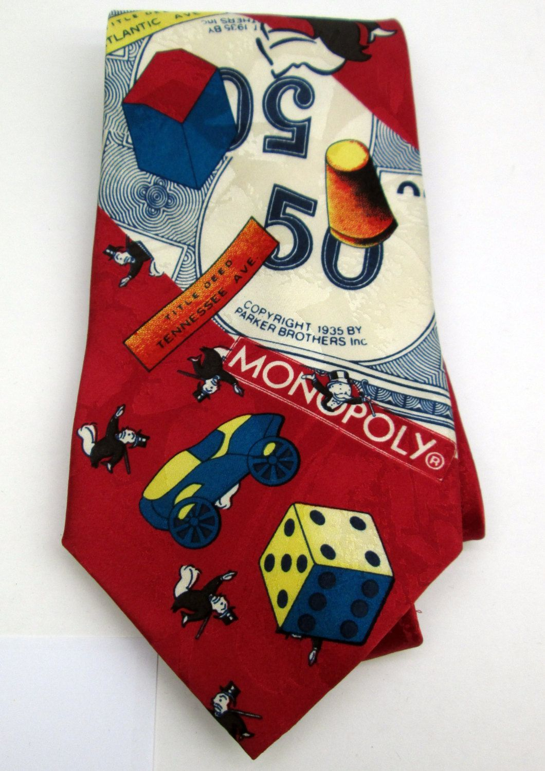Official hasbro parker brothers game of monopoly silk tie by collectingly on etsy