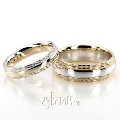 Sleek Double Milgrain Basic Design Wedding Band Set His Hers 2 Tone Basic Alternating Patter Wedding Band Sets Mixed Metal Wedding Rings Wedding Ring Bands