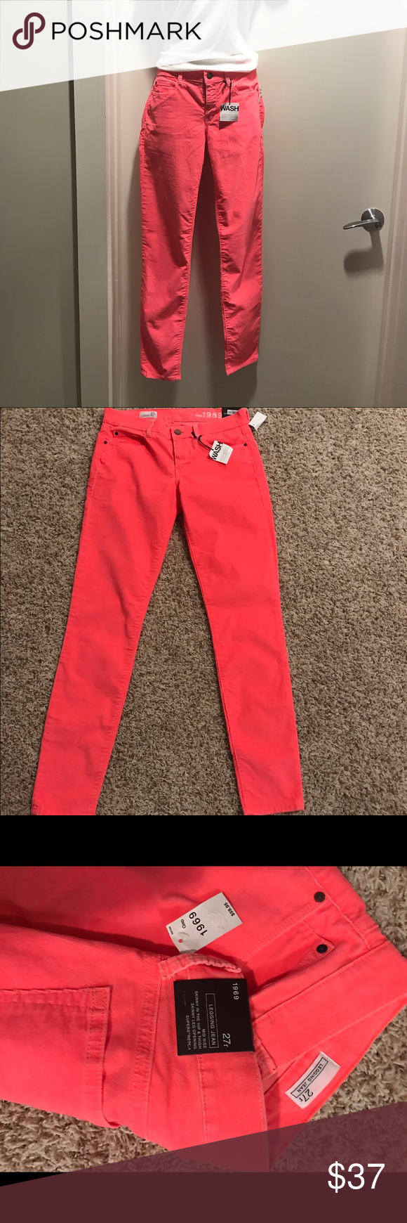 NWT Gap Neon Legging Jean NWT, perfect condition, super soft and comfy!  Mid rise, super stretch.  neon pink/coral. GAP Pants Skinny