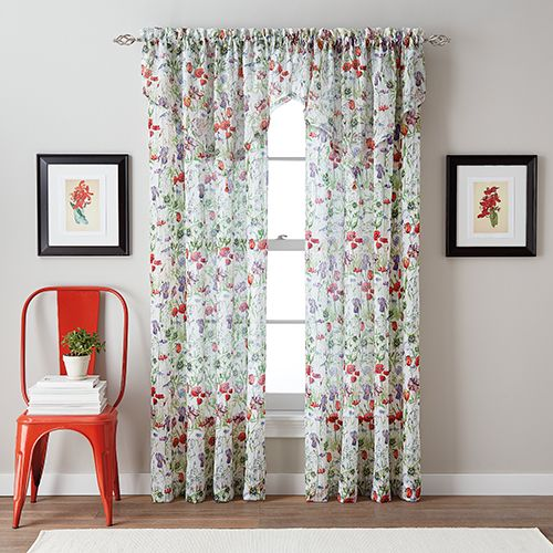 Botanical Garden Crushed Print Sheer Curtain Panel Floral