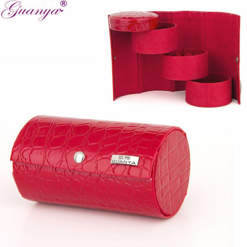 Multifunctional Leather 3 layers Jewelry Display Box Cylinder