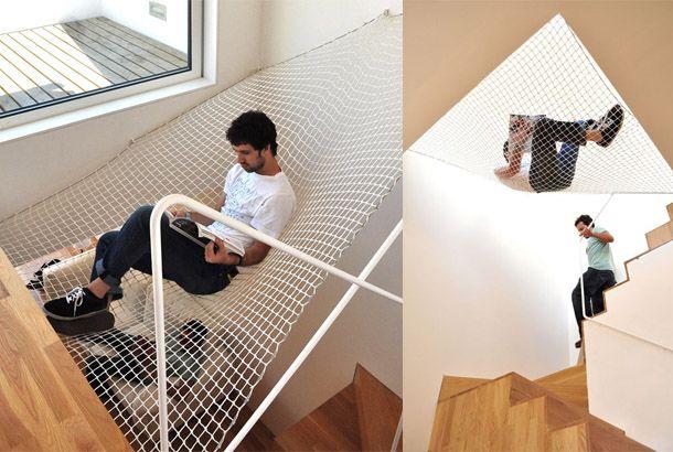 おうちアイデア 階段の吹き抜け部分にハンモック ハウスデザイン