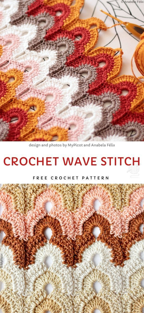 Crochet Wave Stitch Free Crochet Pattern Colorful Crochet Stitches This beautiful lacy stitch is very subtle and delicate  perfect to repeat on many many projects that wi...