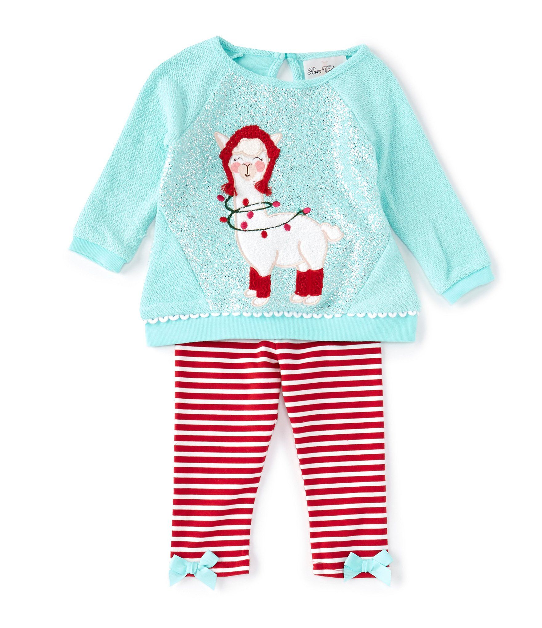Photo of Rare Editions Baby Girls 12-24 Months Llama Sweater-Knit Tunic  Striped Leggings Set – Turquoise/Red 12 Months