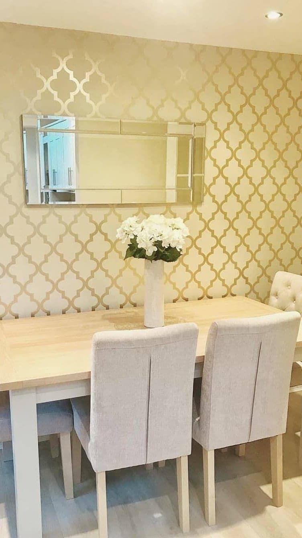 Camden Trellis Wallpaper Cream Gold Trellis Wallpaper Li