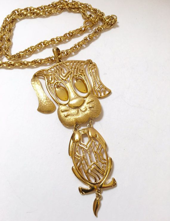 Vintage Gold Tone Large Dog Pendant with by DianaKirkpatrickArt