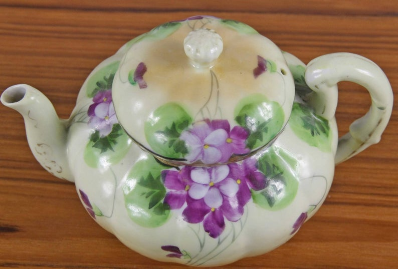 Antique Japanese China Tea Set, Tea Pot, Sugar and Creamer, Floral, Flowers, Violets, Lavender, Nippon China #teapotset
