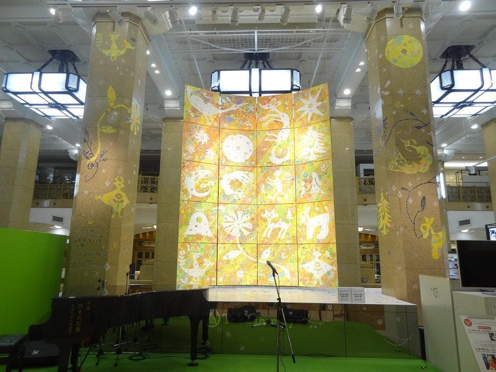 あしたは、高島屋玉川店て制作です 、たまプラーザで巨大な包み紙みたいな絵と一緒に お待ちしています。: tamagawa-sc.com/event/?id=1257