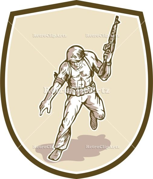 American Soldier Serviceman Armalite Rifle Cartoon Vector Stock Illustration