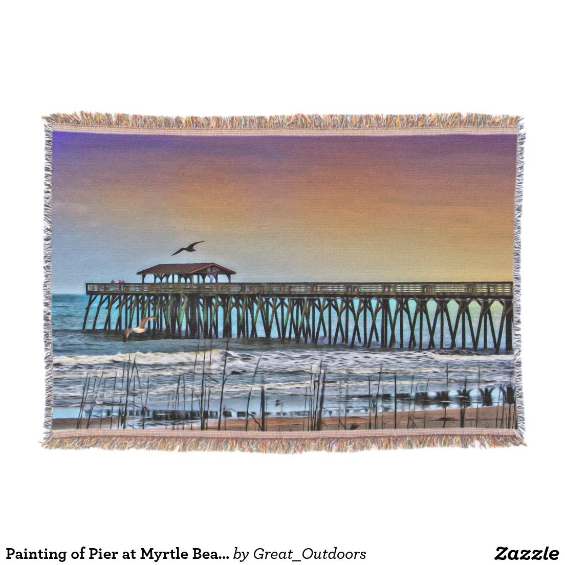Painting of Pier at Myrtle Beach Throw Blanket Zazzle
