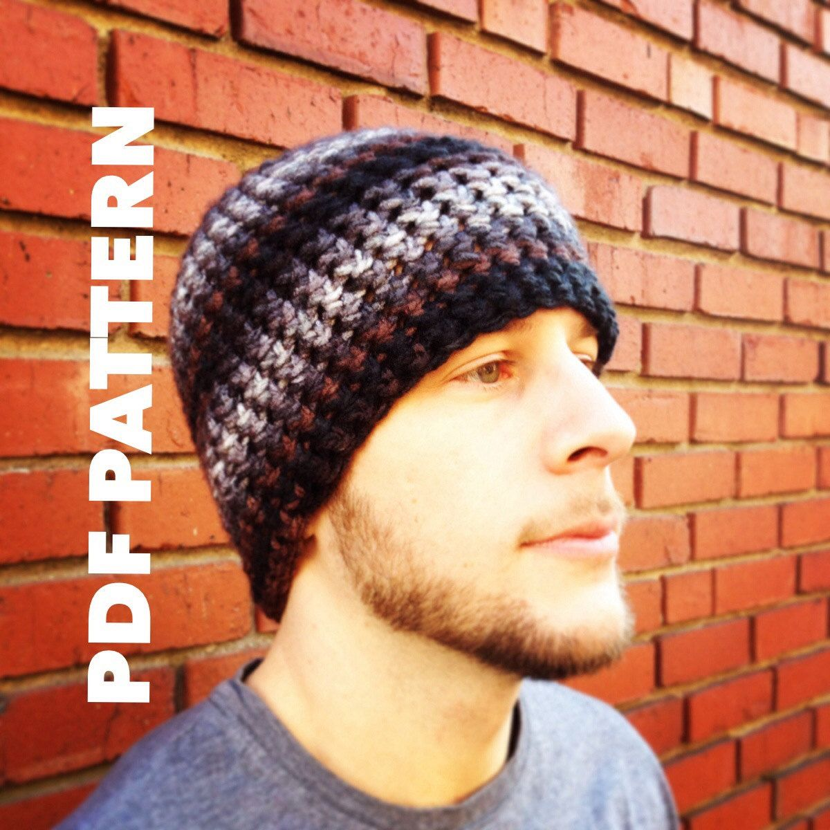 One Hour Striped Mens Beanie Crochet Pattern- Bulky Mens Beanie Hat ...