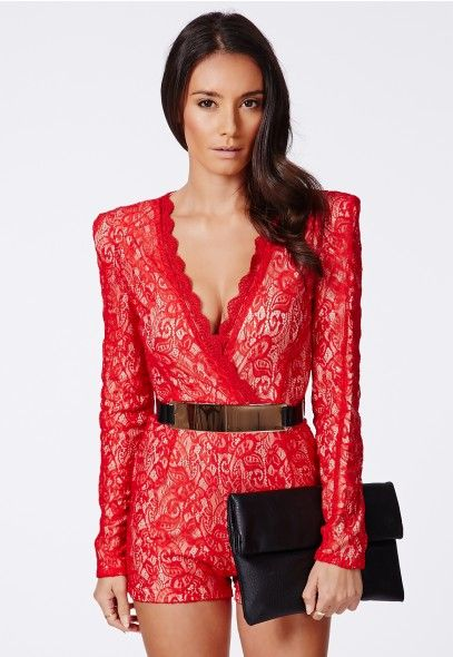 993389063a Montanah Red Lace V Neck Belted Romper - Missguided