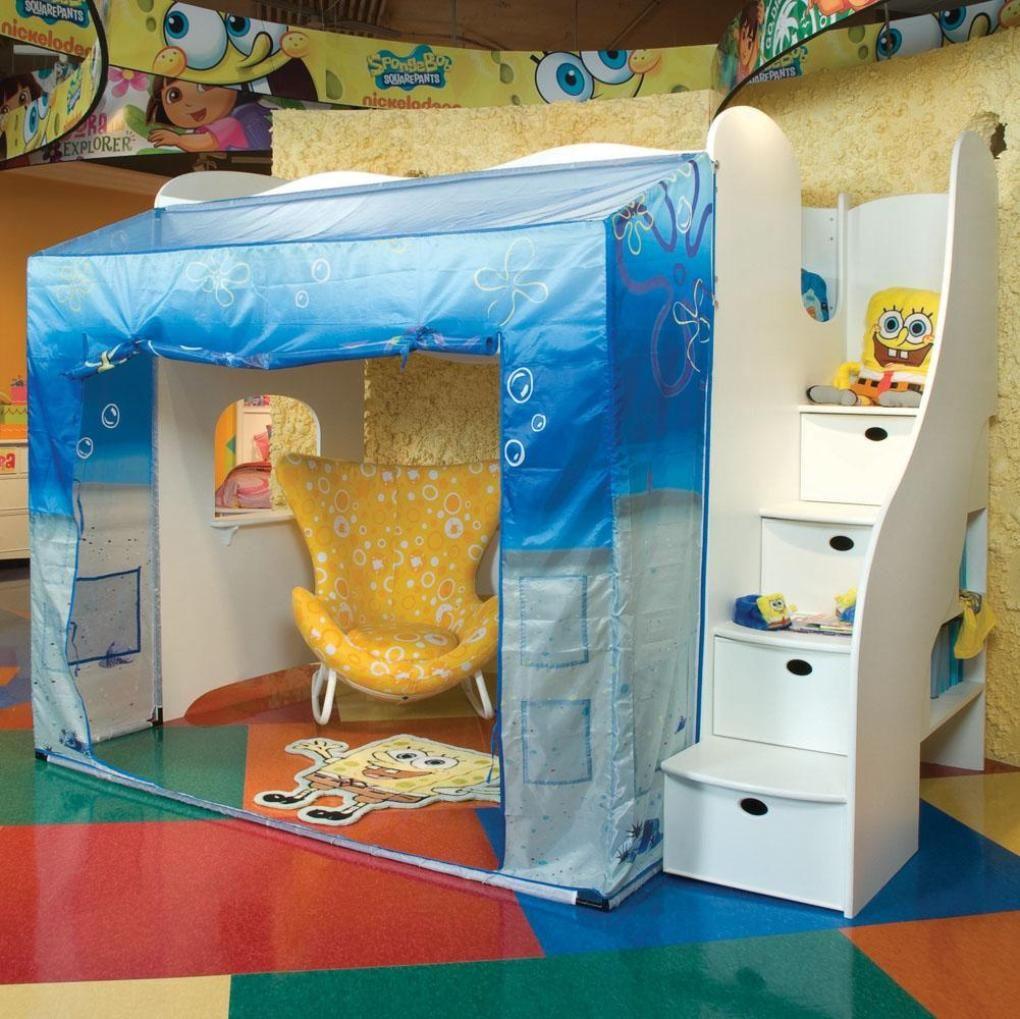 Funny Spongebob Squarepants Kids Room Designs  Cheerful Spongebob Squarepants Loft Bed with Playroom Underneath in & Funny Spongebob Squarepants Kids Room Designs : Cheerful Spongebob ...