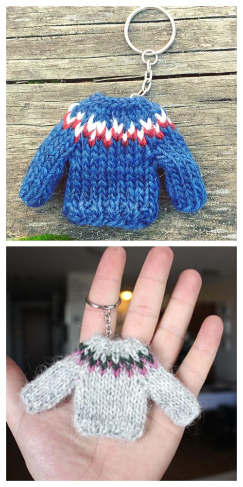 Knit Mini Sweater Keychain Free Knitting Pattern ...