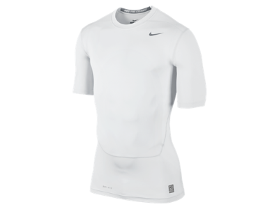 Nike Pro Combat Core Compression Half-Sleeve Men's Shirt - White/Cool Grey