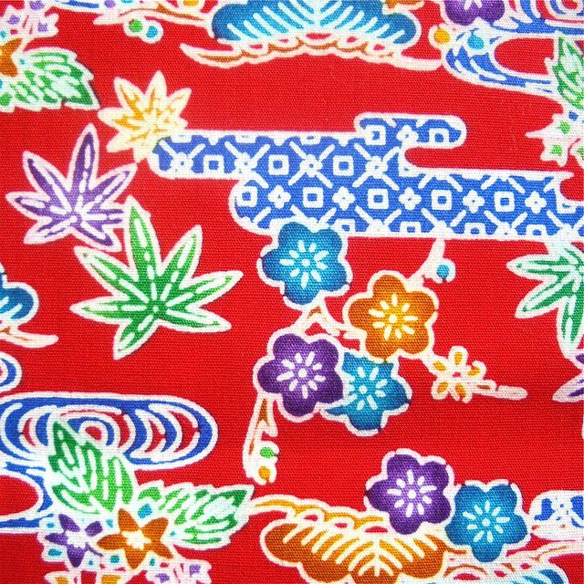 Cotton Okinawa Bingata Print Fabric Red 1 Okinawa Tattoo