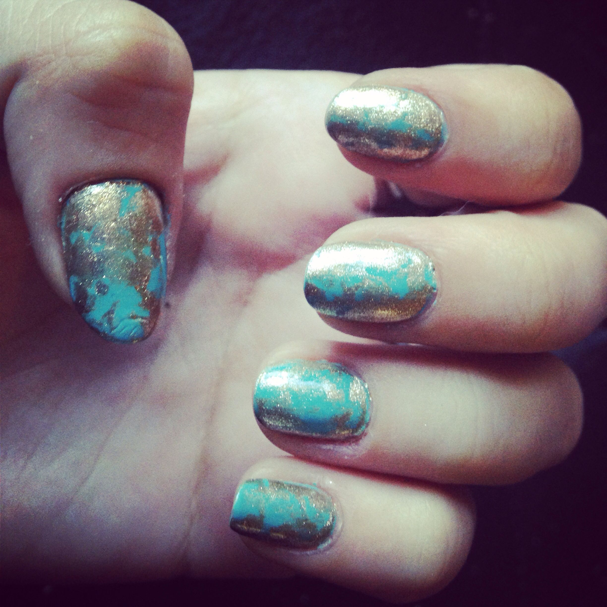 Turquoise And Gold Marble Done Using Plastic Bag Nailart My