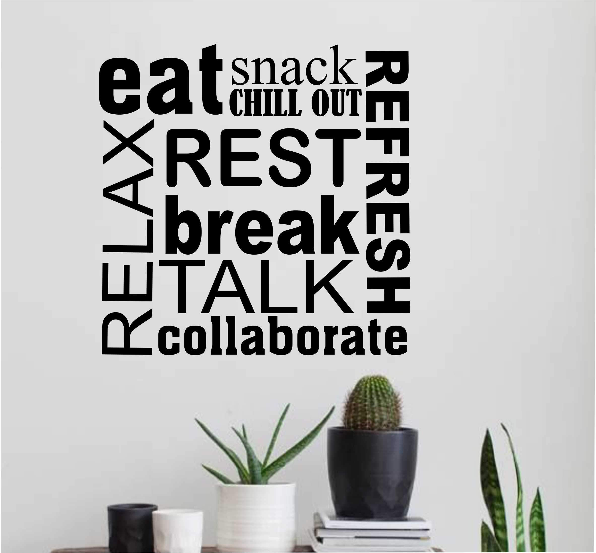 Break Room Word Collage | Wall Lettering | Vinyl Office Decals images