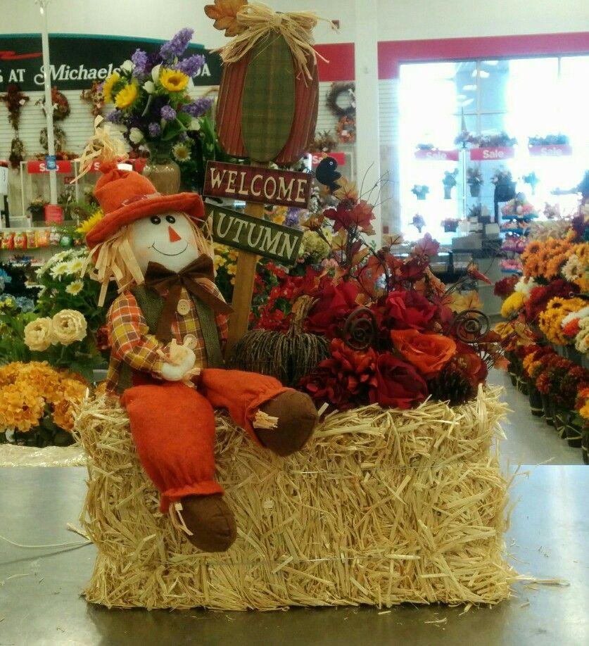 Outdoor Halloween Decorations Michaels: Fall Hay Bale Arrangement - 3912