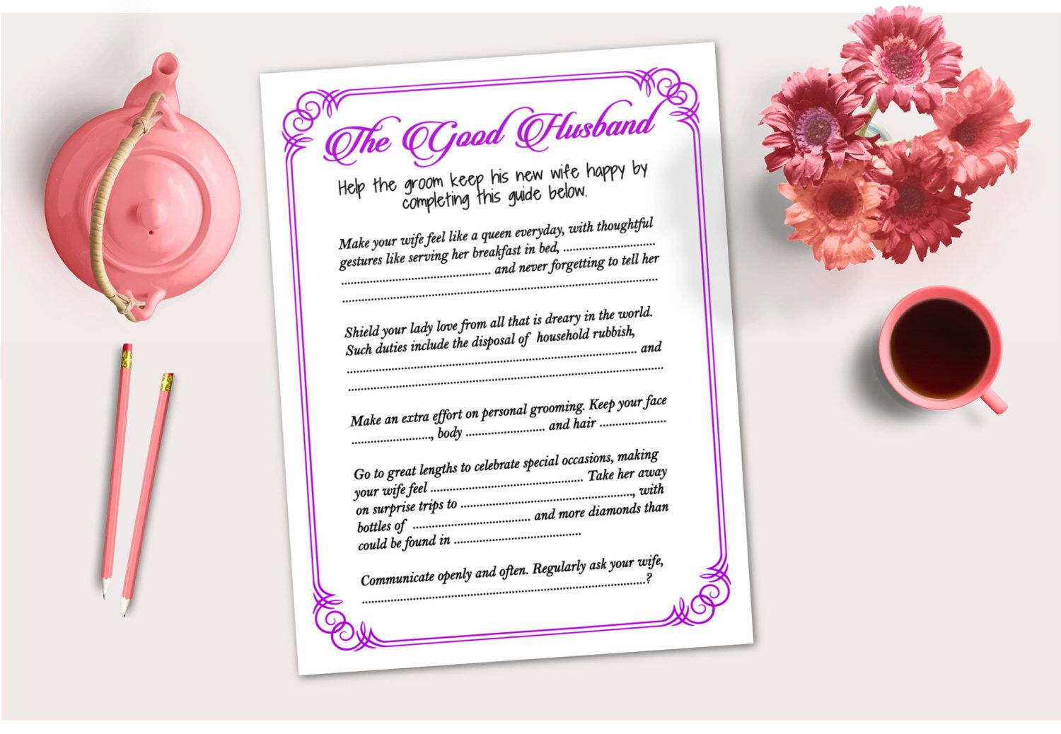 Tips for Husband Guide Hen Party Game Bridal Shower Bachelorette ...