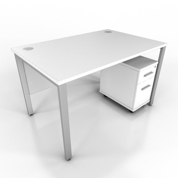 Brilliant Icw White Bench Style Desk And Pedestal New Office White Cjindustries Chair Design For Home Cjindustriesco