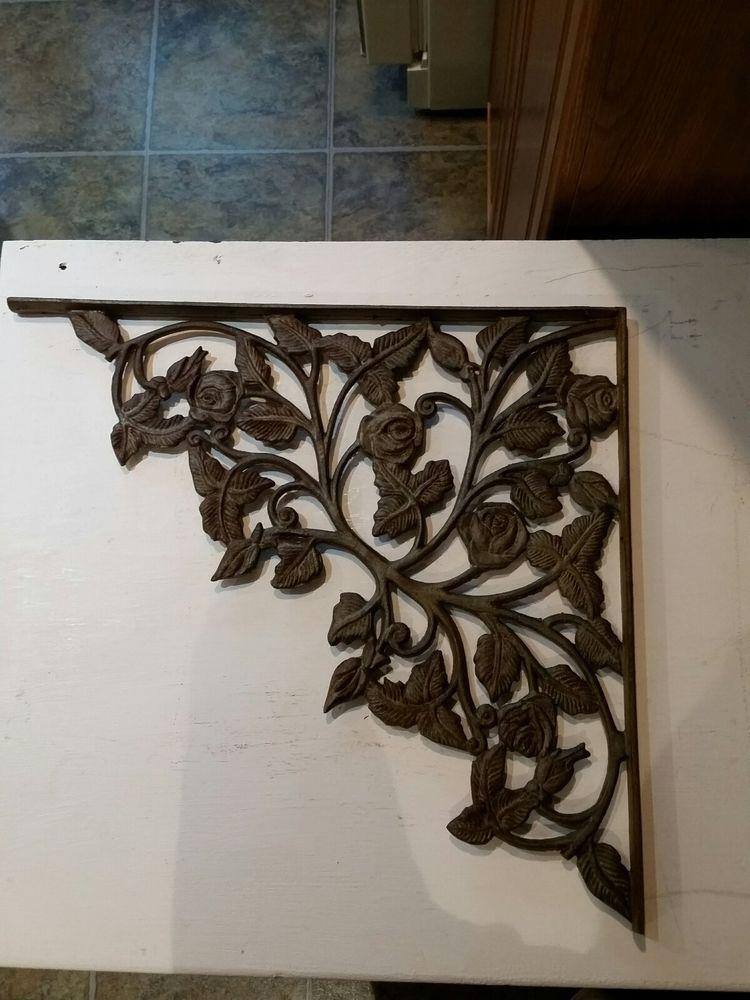 "Lot//Set of 4 Antique-Style RUSTIC BROWN Cast Iron 7/"" x 7/"" SHELF BRACKETS Hangers"