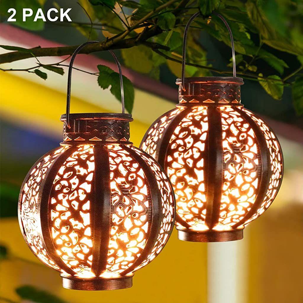 Maggift 2 Pack Hanging Solar Lanterns Retro Solar Lights With Handle Outdoor Solar Garden Lights Deco Solar Hanging Lanterns Solar Lights Garden Solar Lanterns