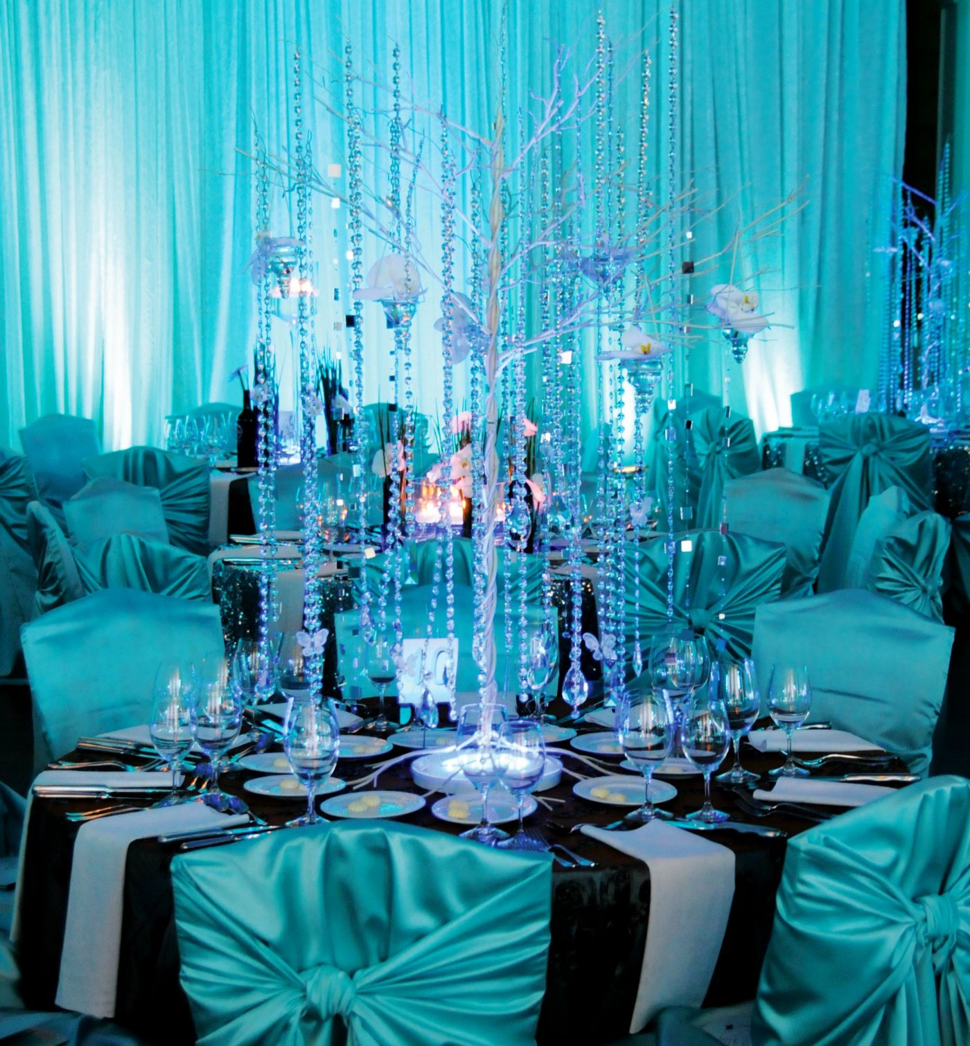 Teal Wedding Ideas For Reception: Tiffany Blue With Black & White /// #sparkle #tree