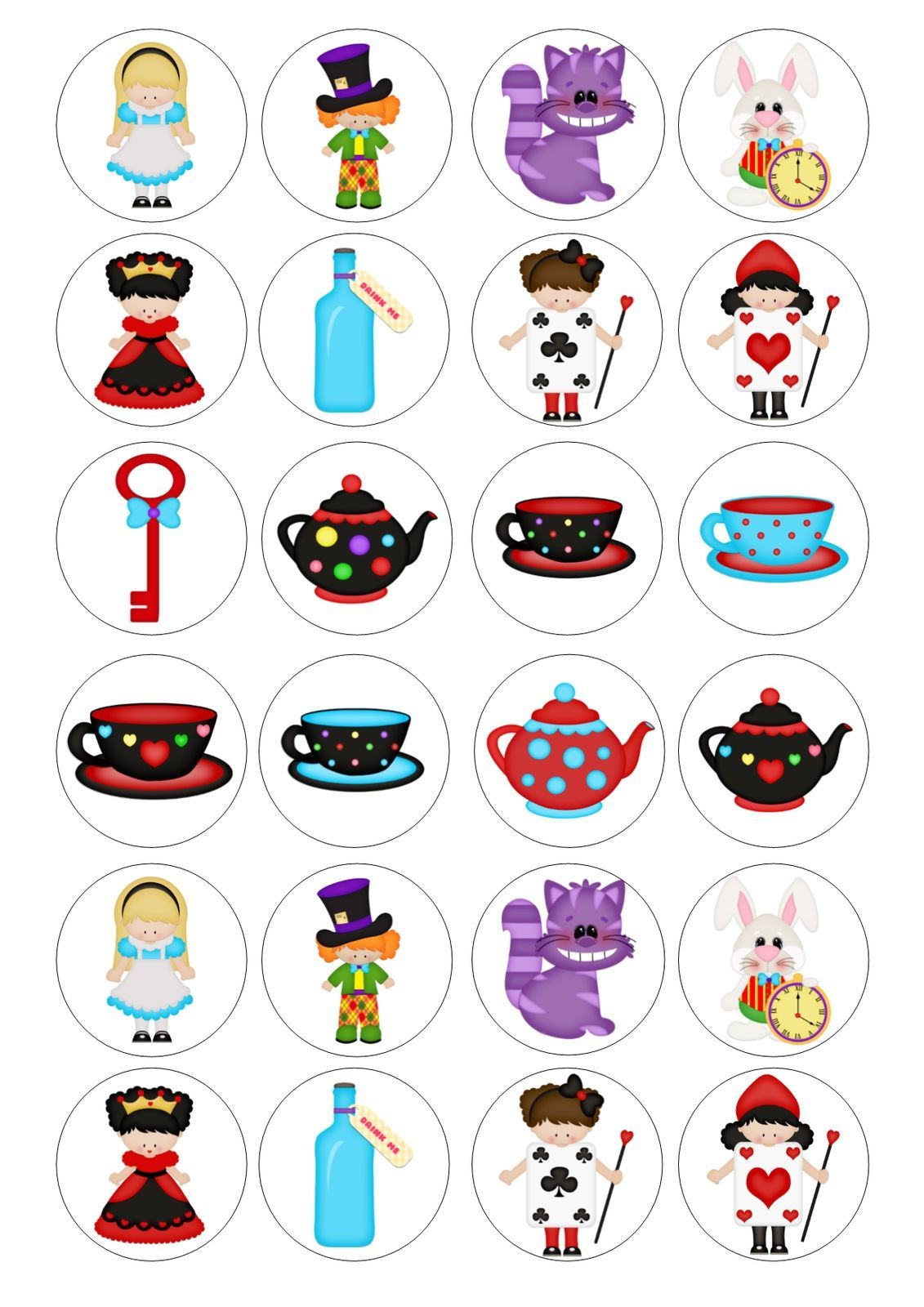 24 Alice / Mad Hatter Tea Party Wafer Cupcake Topper Fairy Cake Bun ...