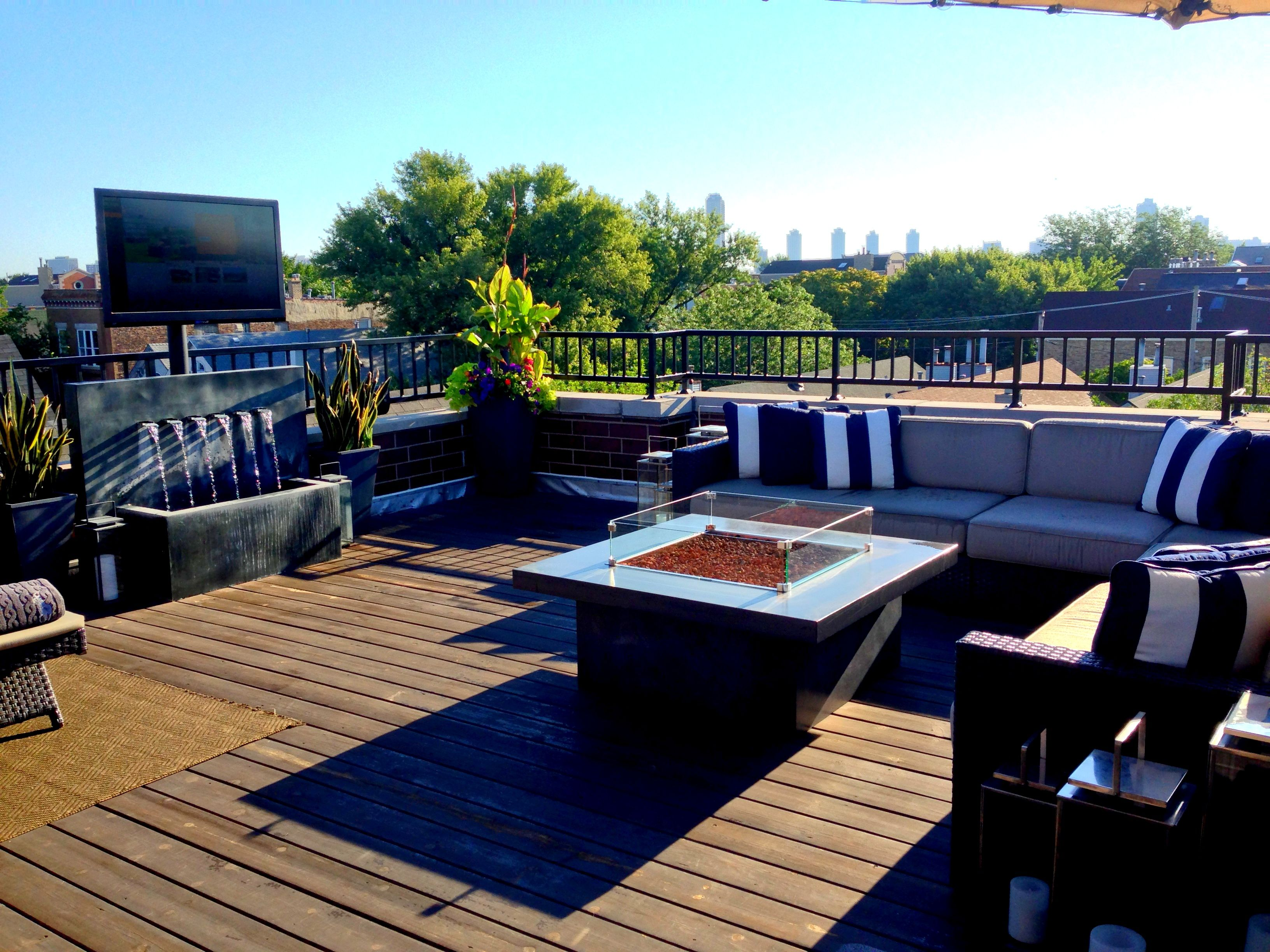 Rooftop Deck With Outdoor Tv Restoration Hardware Fountain